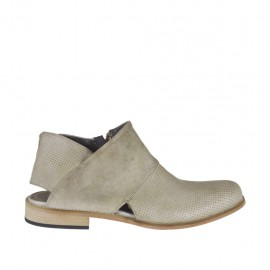 Woman's boot with open heel and zipper in beige leather and pierced leather heel 2 - Available sizes: 42, 43, 44, 45, 46