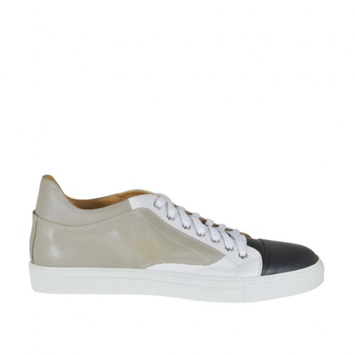 Men's laced casual shoe in beige, white and black leather - Available sizes:  50, 51