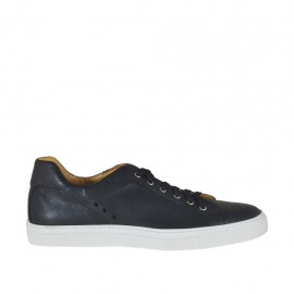 Men's laced casual shoe in black leather - Available sizes:  47, 48, 50, 51
