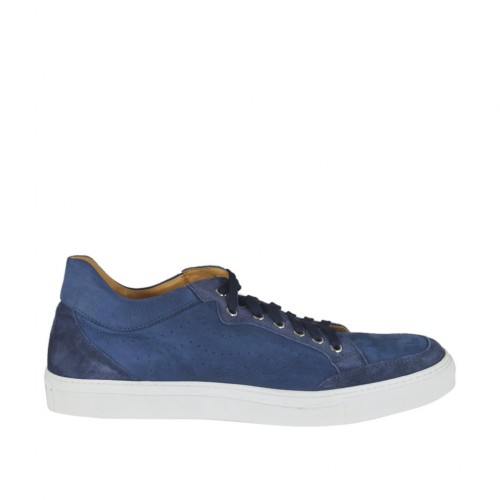 Men's laced casual shoe in blue pierced suede - Available sizes:  50, 51