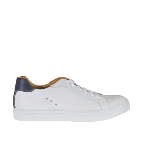 Chaussure sportif à lacets pour hommes en cuir blanc et bleu - Pointures disponibles:  46, 47, 48, 50, 51