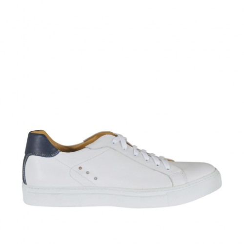 Men's laced casual shoe in white and blue leather - Available sizes:  46, 47, 48, 49, 50, 51
