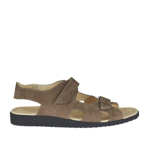 Men's sandal with two velcro bands in taupe nubuck leather - Available sizes:  48