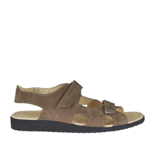 Sandale pour hommes avec fermeture velcro en cuir nubuck taupe - Pointures disponibles:  48