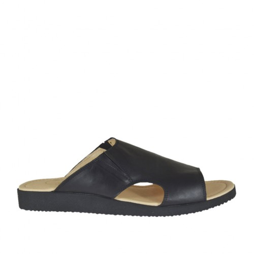 Men's mule in black leather - Available sizes:  47