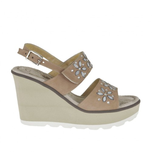 Woman's sandal in taupe nubuck leather with velcro strap, rhinestones, platform and wedge 8 - Available sizes:  43, 44