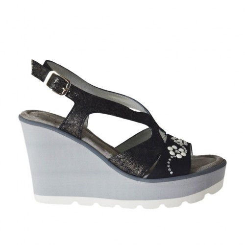 Woman's sandal in black nubuck leather and lead-colored printed laminated leather with rhinestones, pearls, platform and wedge 8 - Available sizes:  31, 42