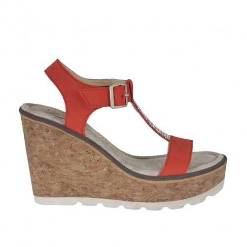 Woman's sandal in red nubuck leather with strap, rhinestones, platform and wedge 8 - Available sizes:  44