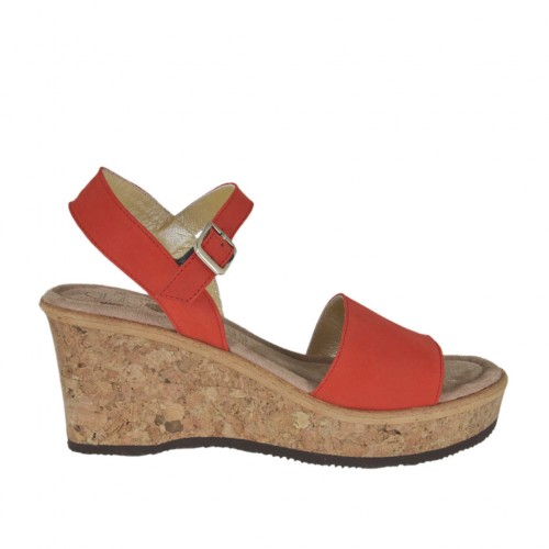 Woman's sandal in red nubuck leather with strap, platform and wedge 6 - Available sizes:  44