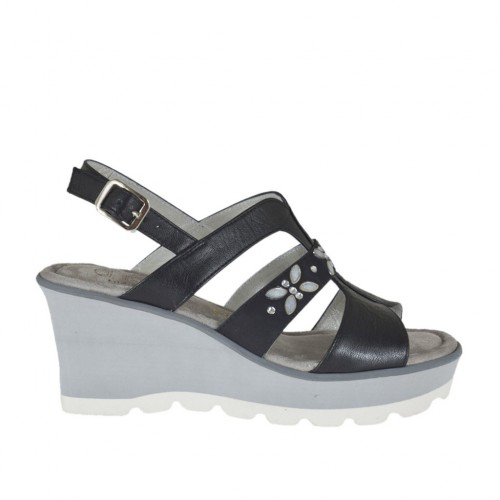 Woman's sandal in black leather and nubuck leather with rhinestones, platform and wedge 6 - Available sizes:  42, 43, 44