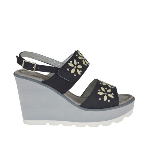 Woman's sandal in black nubuck leather with velcro strap, rhinestones, platform and wedge 8 - Available sizes:  31, 42, 44