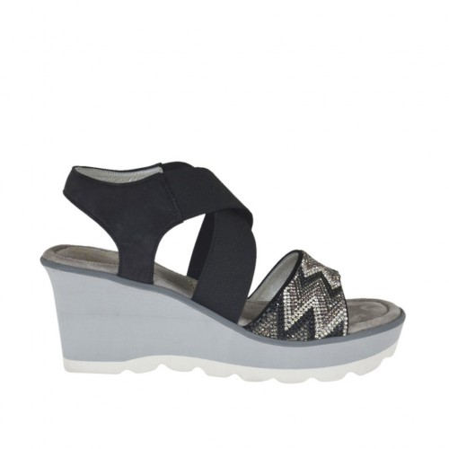 Woman's sandal in black nubuck leather with elastic bands, rhinestones, platform and wedge 6 - Available sizes:  42