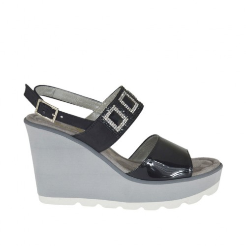 Woman's sandal in black patent leather and nubuck leather with rhinestones, platform and wedge 8 - Available sizes:  31, 32, 42, 43, 44, 45