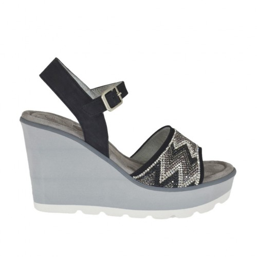Woman's sandal in black nubuck leather with strap, rhinestones, platform and wedge 8 - Available sizes:  32, 43, 44