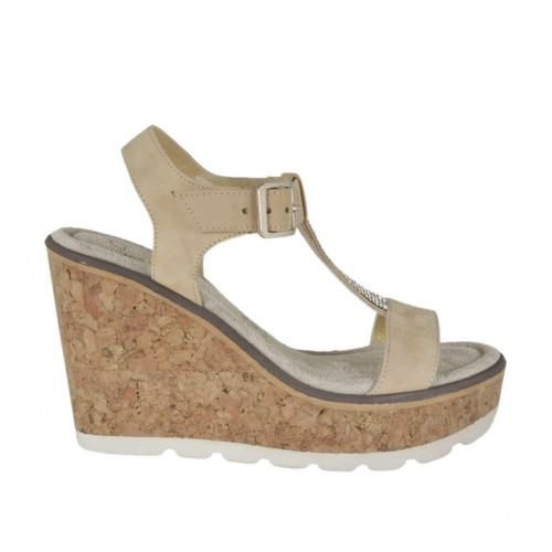 Woman's sandal in beige nubuck leather with strap, rhinestones, platform and wedge 8 - Available sizes:  43, 44