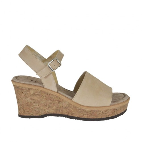 Woman's sandal in beige nubuck leather with strap, platform and wedge 6 - Available sizes:  45