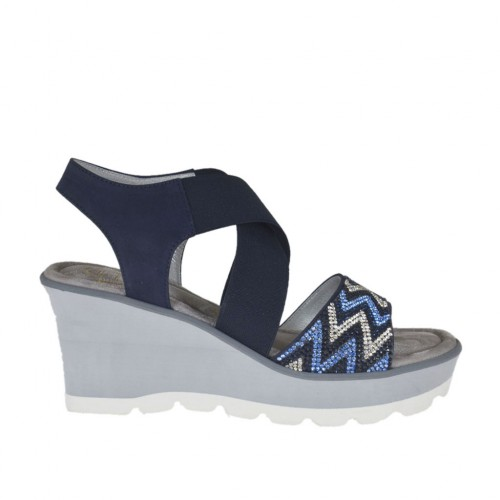 Woman's sandal in blue nubuck leather with elastic bands, rhinestones, platform and wedge 6 - Available sizes:  42, 44