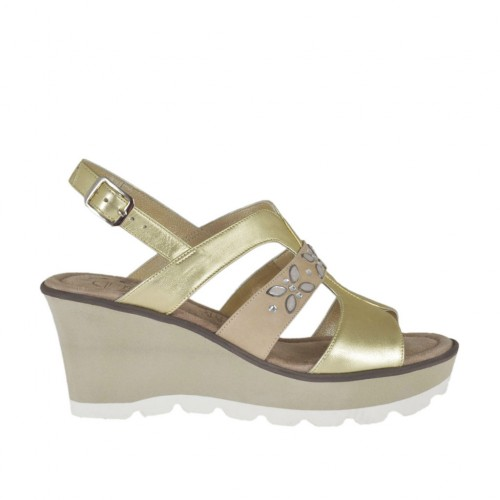 Woman's sandal in beige nubuck leather and platinum laminated leather with rhinestones, platform and wedge 6 - Available sizes:  42