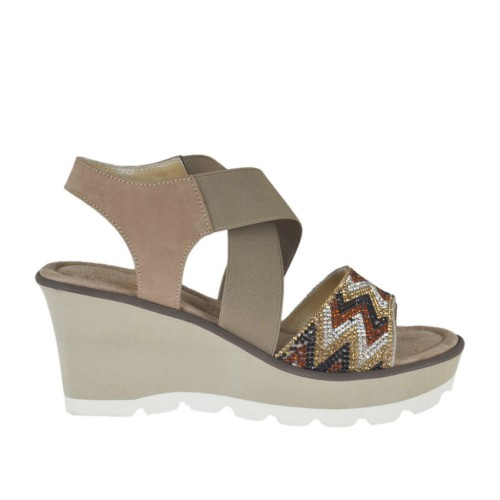 Woman's sandal in taupe nubuck leather with elastic bands, rhinestones, platform and wedge 6 - Available sizes:  31, 42, 43, 44, 45