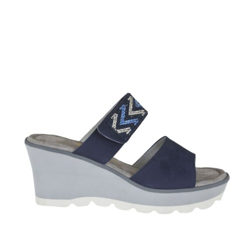 Woman's open mules with platform, velcro strap and rhinestones in blue nubuck leather wedge heel 6 - Available sizes:  42, 43, 44, 45