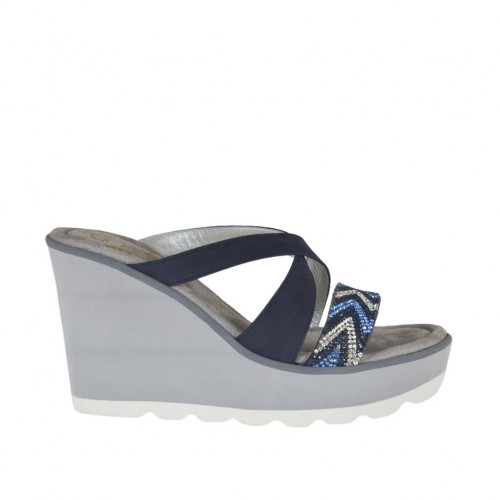 Woman's open mules with platform and rhinestones in blue nubuck leather wedge heel 8 - Available sizes:  42