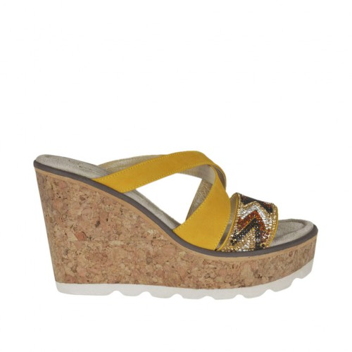 Woman's open mules with platform and rhinestones in ocher nubuck leather wedge heel 8 - Available sizes:  42