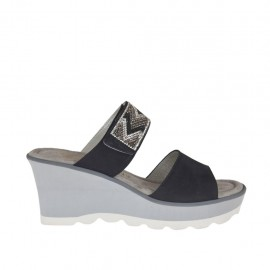 Woman's open mules with platform, velcro strap and rhinestones in black nubuck leather wedge heel 6 - Available sizes:  31, 42, 43, 45