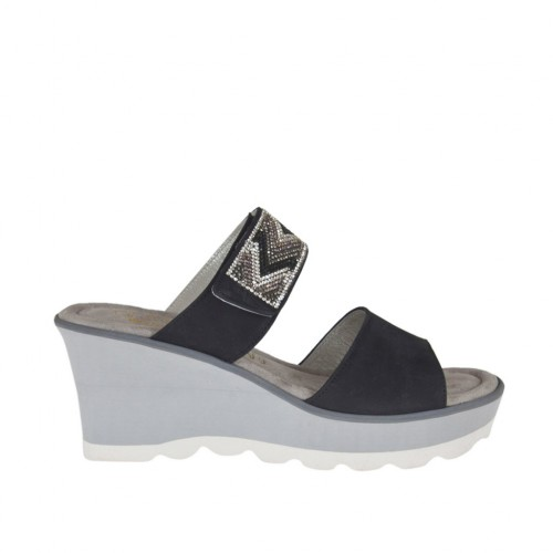 Woman's open mules with platform, velcro strap and rhinestones in black nubuck leather wedge heel 6 - Available sizes:  42, 43, 45
