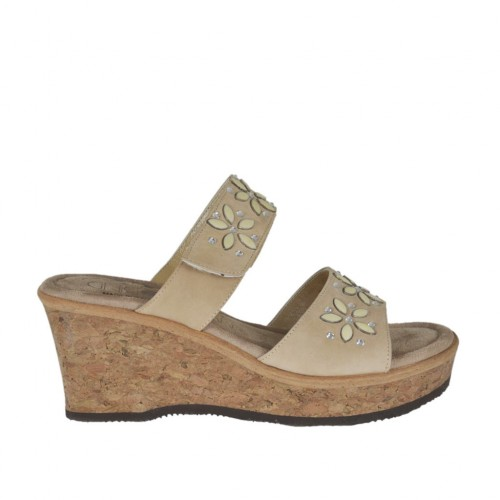 Woman's open mules with platform, velcro strap and rhinestones in beige nubuck leather wedge heel 6 - Available sizes:  43