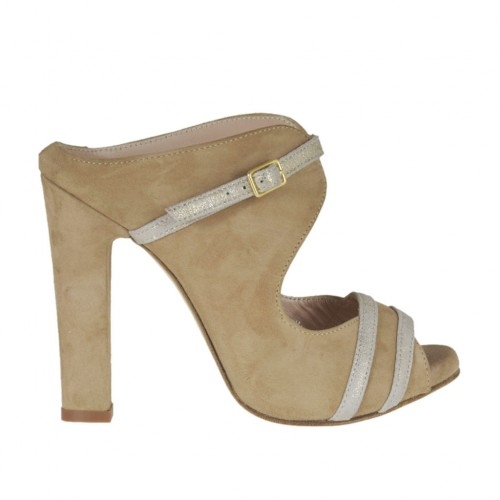 Woman's open mules with strap in beige and silver laminated suede with platform and heel 9 - Available sizes:  31, 34