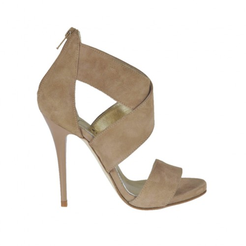 Woman's open shoe with zipper and platform in beige suede heel 10 - Available sizes:  42