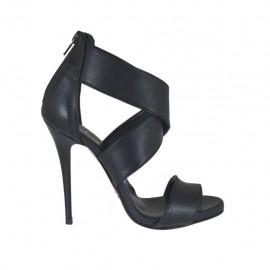 Chaussure ouvert avec plateforme et fermeture éclair en cuir noir talon 10 - Pointures disponibles:  31, 32, 34, 42, 43, 44, 46, 47