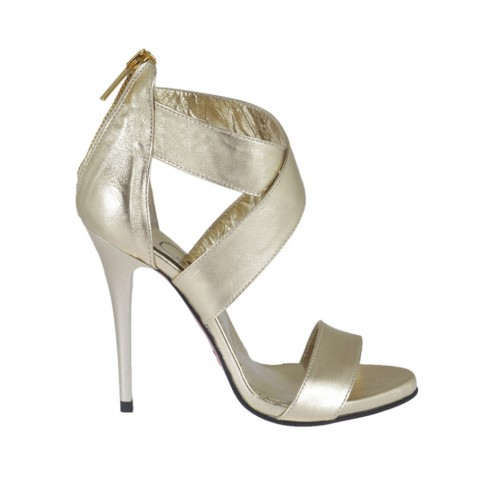 Woman's open platform pump with crossed straps and zipper in platinum laminated leather heel 10 - Available sizes:  34, 42