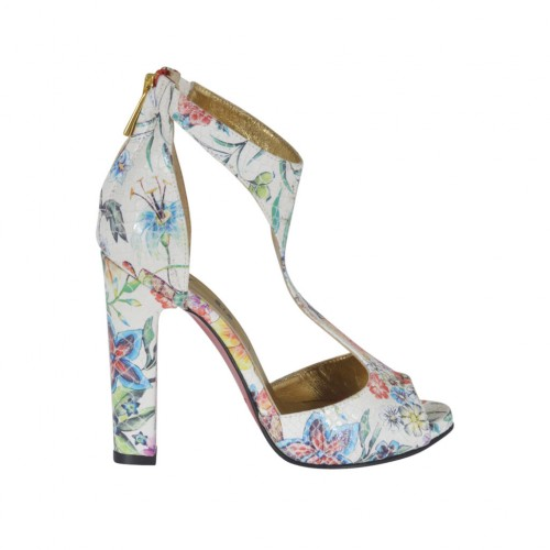 Woman's open platform shoe with elastic and zipper in multicolored floral printed leather heel 10 - Available sizes:  32, 34, 46