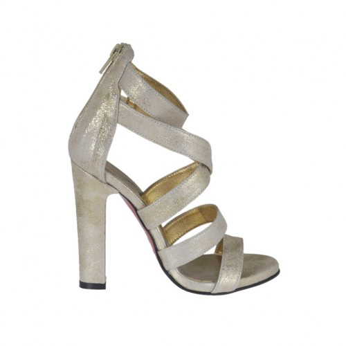 Woman's open shoe with zipper and platform in platinum laminated printed beige suede heel 10 - Available sizes:  42