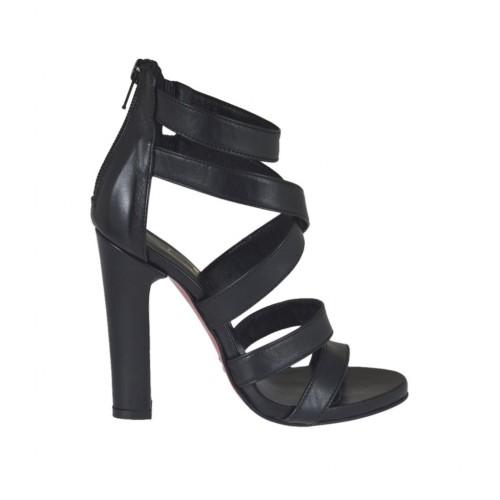 Scarpa aperta da donna con cerniera e plateau in pelle nera tacco 10 - Misure disponibili: 31