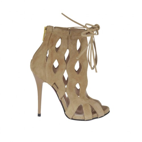 Woman's open shoe with platform, laces and zipper in beige suede heel 10 - Available sizes:  31