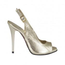 Sandalo da donna con plateau in pelle laminata platino tacco 10 - Misure disponibili: 31, 32, 33, 34, 42, 43, 44, 45, 46, 47