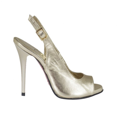 Woman's platform sandal in platinum laminated leather heel 10 - Available sizes:  31, 32, 33, 34, 42, 43, 44, 46, 47