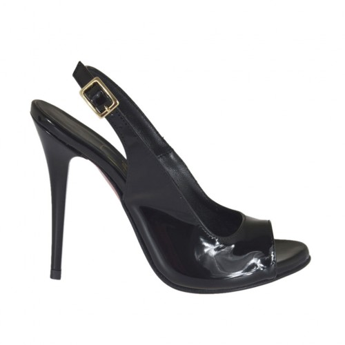 Woman's platform sandal in black patent leather heel 10 - Available sizes:  31, 32, 42, 45, 46, 47