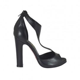 Chaussure ouvert en cuir noir avec fermeture éclair et plateforme talon 10 - Pointures disponibles: 31, 32, 33, 34, 42, 43, 44, 45, 46, 47