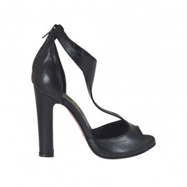 Woman's open pump in black leather with platform and zipper heel 10 - Available sizes: 31, 32, 33, 34, 42, 43, 44, 45, 46, 47