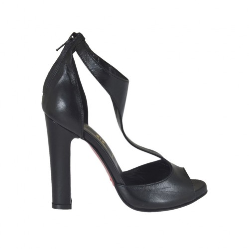 Woman's open pump in black leather with platform and zipper heel 10 - Available sizes:  31, 34, 42, 43, 46, 47