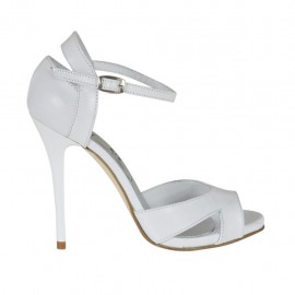 Woman's open toe platform pump with strap in white leather heel 10 - Available sizes: 31, 32, 42, 44, 45, 46, 47
