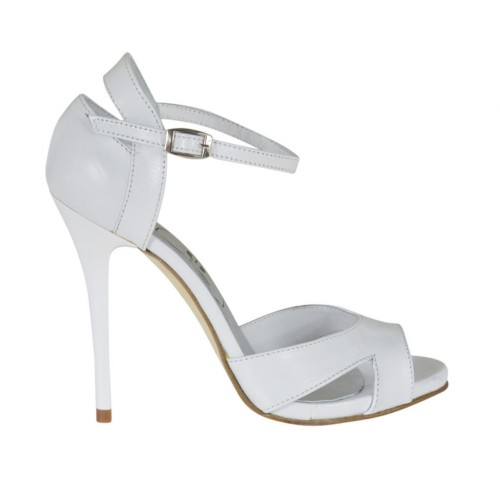 Woman's open toe platform pump with strap in white leather heel 10 - Available sizes:  32, 42, 45, 46, 47