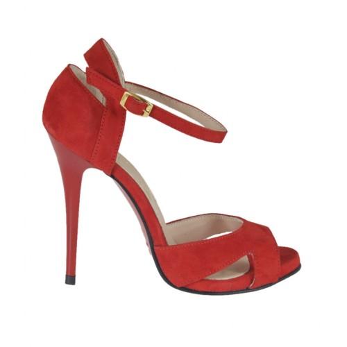 Scarpa aperta da donna con cinturino e plateau in camoscio rosso tacco 10 - Misure disponibili: 31, 33, 43, 44, 45, 46