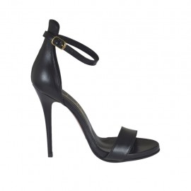 Woman's open strap shoe in black leather with platform and heel 10 - Available sizes: 31, 32, 34, 42, 43, 44, 45, 46, 47