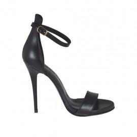 Zapato abierto para mujer con cinturon en piel negra con plataforma y tacon 10 - Tallas disponibles:  34, 42, 43, 44, 45, 46, 47