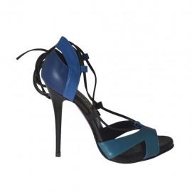 Scarpa aperta da donna con plateau e lacci in pelle blu, petrolio e nera tacco 10 - Misure disponibili: 31, 32, 33, 34, 42, 43, 44, 45, 46, 47