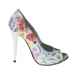 Scarpa aperta in punta da donna con plateau in pelle stampata multicolore floreale tacco 10 - Misure disponibili: 31, 32, 33, 34, 42, 43, 44, 45, 46, 47